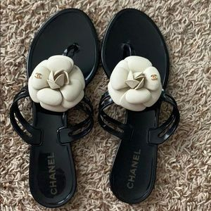 Authentic Chanel Cameilla Flower Jelly Sandals